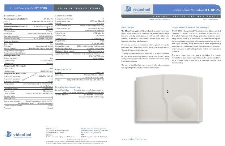 Control Panel Videofied XT GPRS                                                 TECHNICAL                                S...