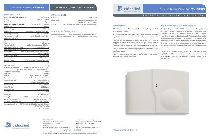 Control Panel Videofied XV GPRS                                              TECHNICAL                                SPEC...