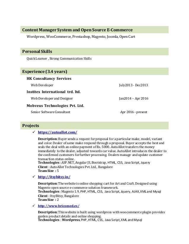 web developer and application developer with 3 years experience