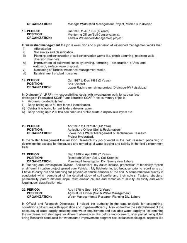 conservationist resume