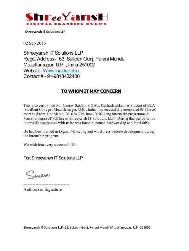 Gaurav Saklani Internship Letter 1