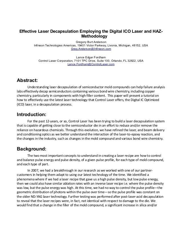 Effective Laser Decapsulation Employing the Digital ICO Laser and HAZ- Methodology Gregory Burt Anderson Infineon Technolo...