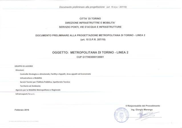DIREZIONE INFRASTRUTTURE E MOBILITA' Documento preliminare alla progettazione Documento preliminare alla progettazione (ar...