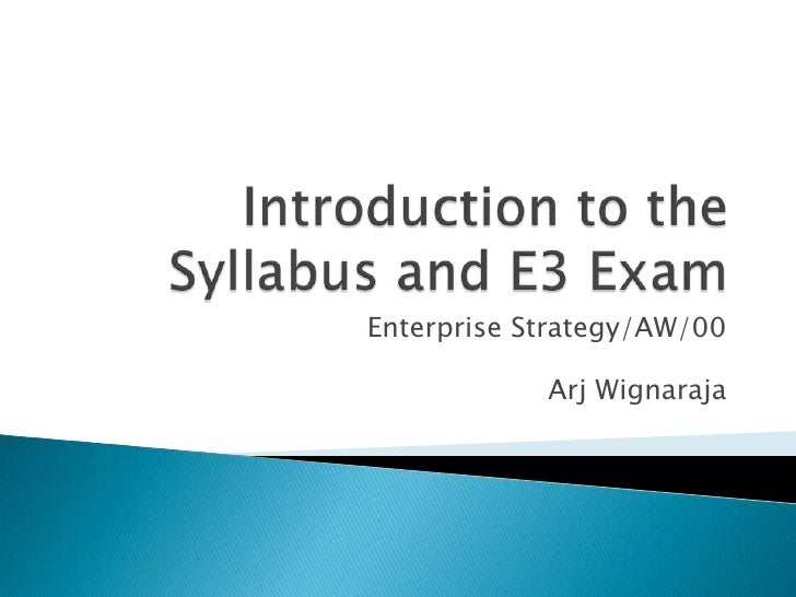Enterprise Strategy/AW/00            Arj Wignaraja
