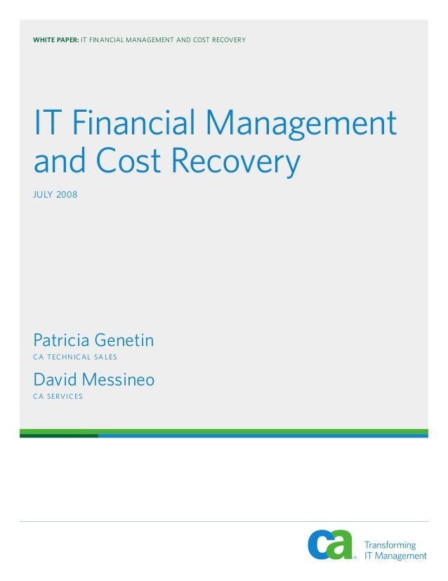 IT Financial Management And Cost Recovery