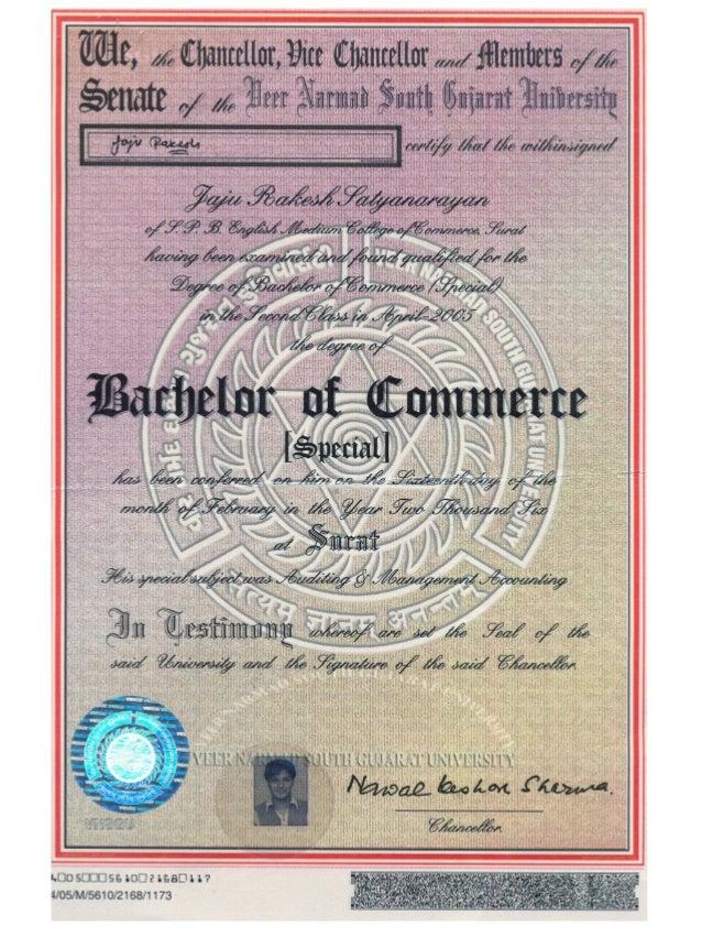 Degree certificate for B b com