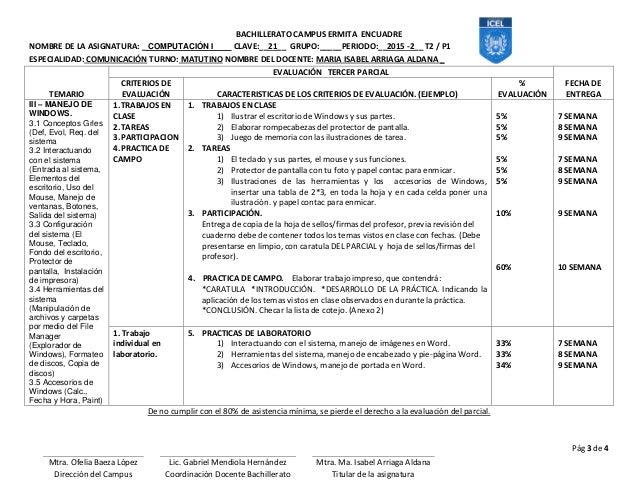 BACHILLERATO CAMPUS ERMITA ENCUADRE NOMBRE DE LA ASIGNATURA: _ COMPUTACIÓN I CLAVE:__21__ GRUPO:_____PERIODO:__2015 -2__ T...