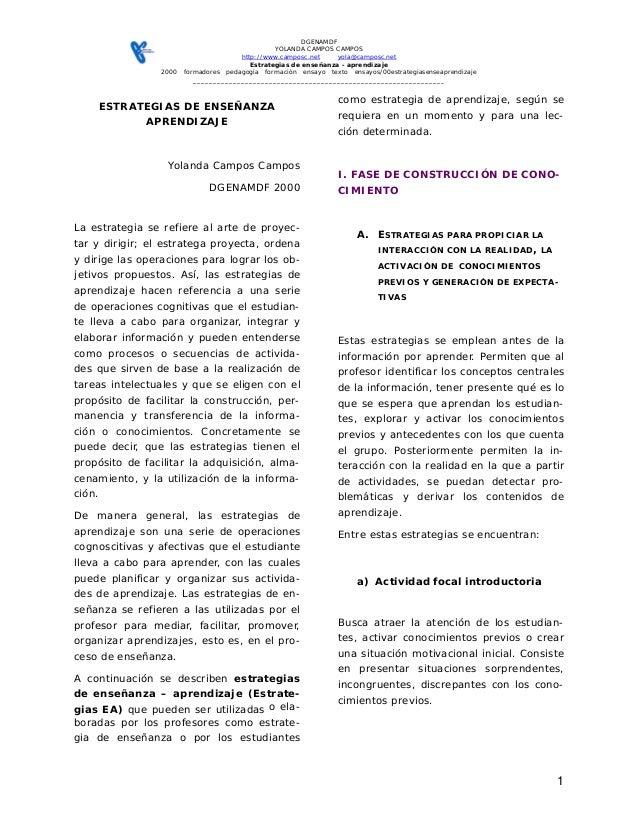 DGENAMDF YOLANDA CAMPOS CAMPOS http://www.camposc.net yola@camposc.net Estrategias de enseñanza - aprendizaje 2000 formado...