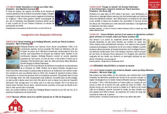 ESCAPADES LITTÉRAIRES Scandinavie 12 ESCAPADES LITTÉRAIRES Scandinavie 13 17h-18h30Atelier illustration et collage avec S...