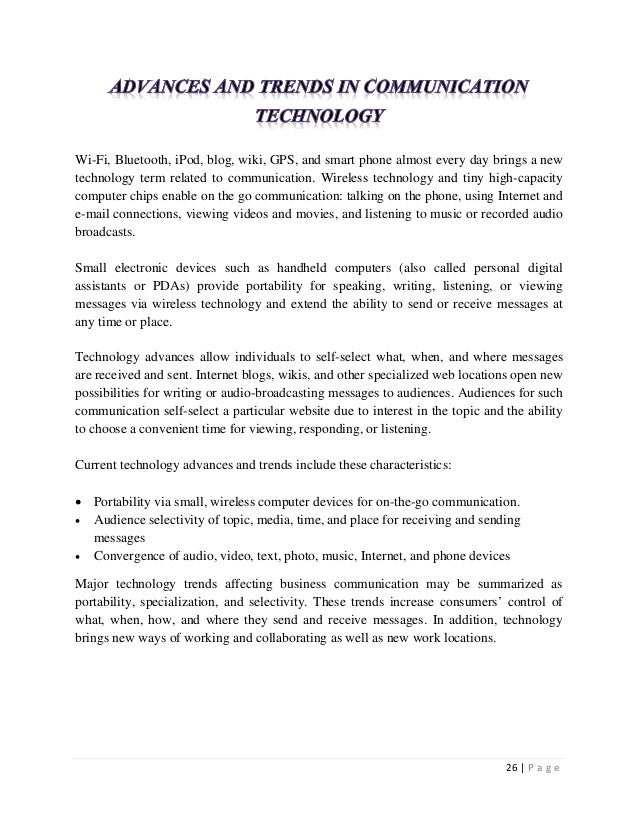 Personality Essay Sample Essay On Wireless Technology Current Trends In Business Communication Essay  Essay Business  Great Persuasive Essays also Transition Sentences Examples For Essays Essay On Wireless Technology  Koziythelinebreakerco Pursuasive Essay