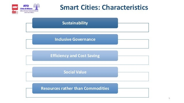 5 Smart Cities: Characteristics Sustainability Inclusive Governance Efficiency and Cost Saving Social Value Resources rath...