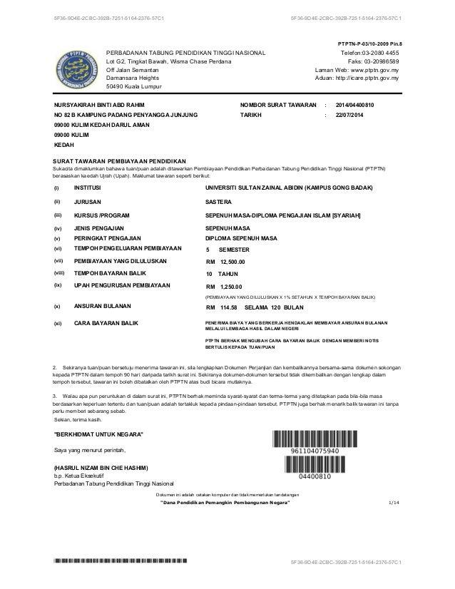 Salinan Surat Tawaran Pinjaman Ptptn — TTCT