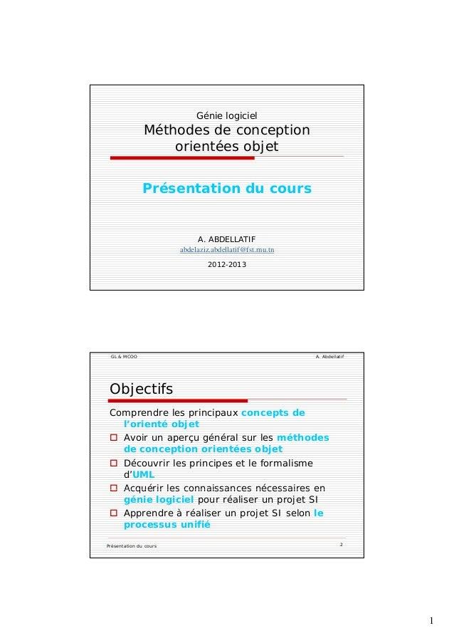 1 Génie logiciel Méthodes de conception orientées objetj Présentation du cours A. ABDELLATIF abdelaziz.abdellatif@fst.rnu....