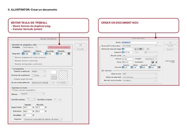 0. ILLUSTRATOR: Crear un documento  EDITAR TAULA DE TREBALL            CREAR UN DOCUMENT NOU  - Veure formes de duplicar p...