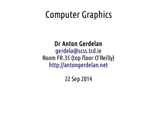 Computer Graphics - Lecture 00 - Introduction
