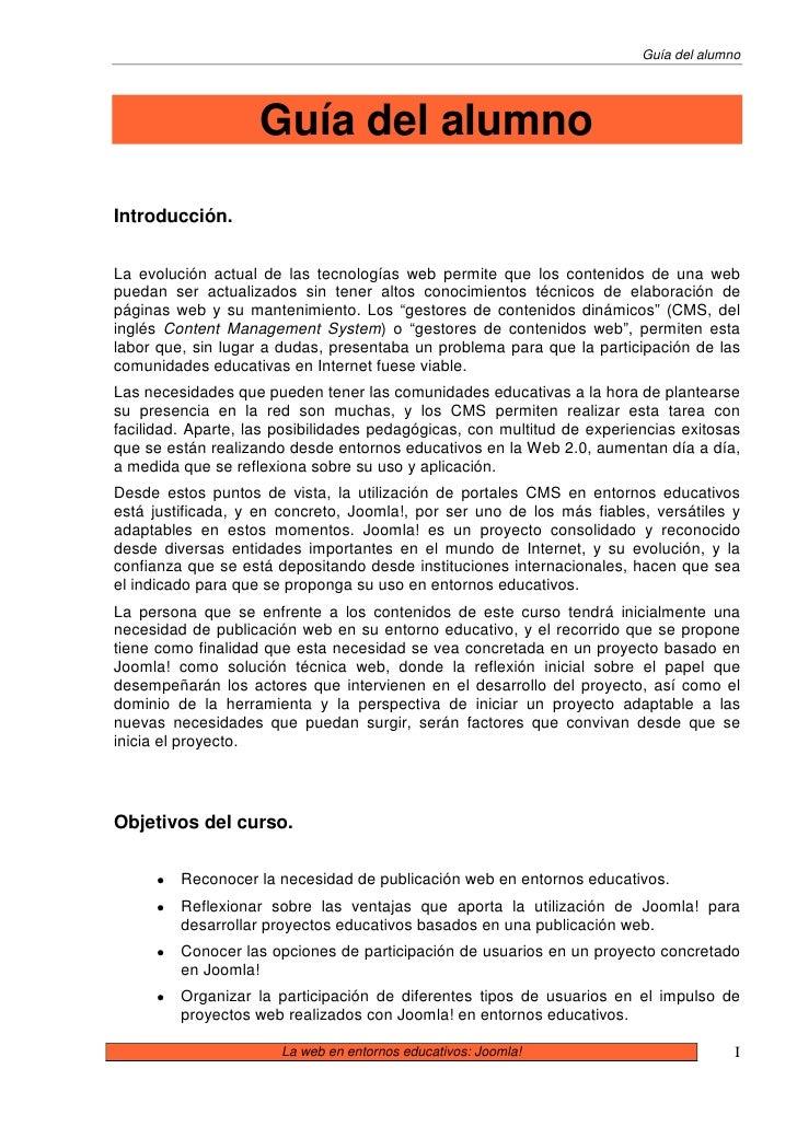 Guía del alumno                         Guía del alumno  Introducción.   La evolución actual de las tecnologías web permit...