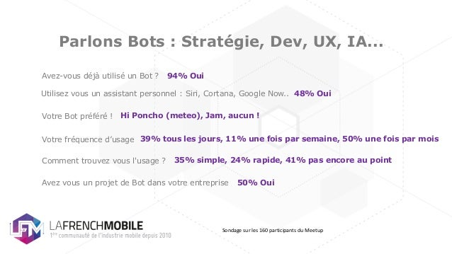 Parlons Bots : Stratégie, Dev, UX, IA... Avez-vous déjà utilisé un Bot ? Votre Bot préféré ! Votre fréquence d'usage Comme...