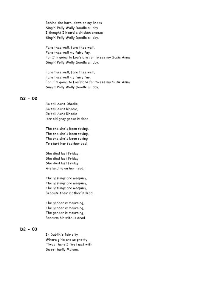 Lyric louisiana rain lyrics : 00 Lyrics 100 Songs For Kids