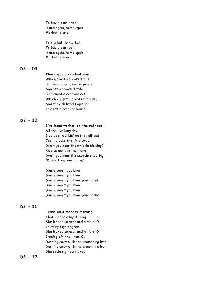 00 Lyrics 100 Songs For Kids