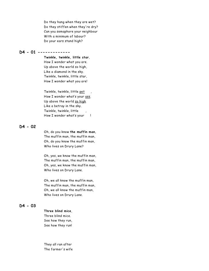 Lyric man song lyrics : 00 Lyrics 100 Songs For Kids