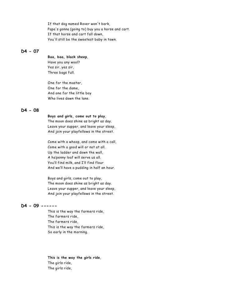 Lyric birds courting song lyrics : 00 Lyrics 100 Songs For Kids