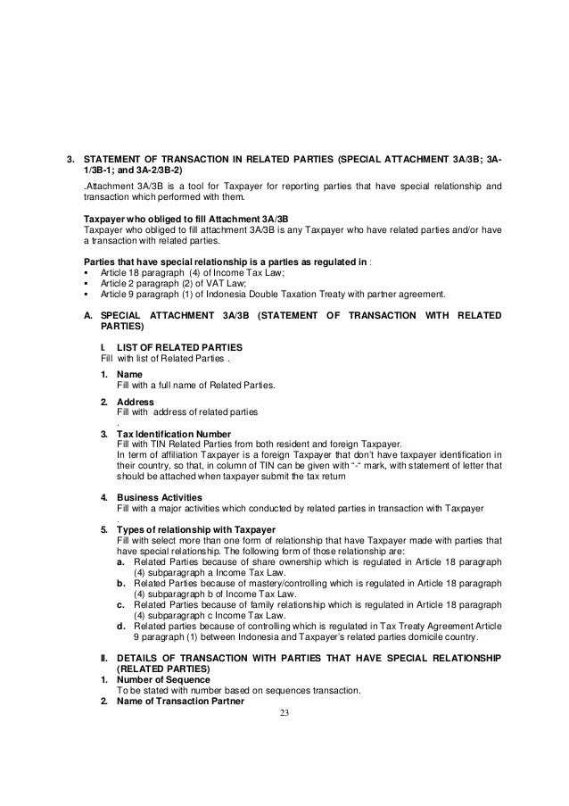 23 3. STATEMENT OF TRANSACTION IN RELATED PARTIES (SPECIAL ATTACHMENT 3A/3B; 3A- 1/3B-1; and 3A-2/3B-2) .Attachment 3A/3B ...