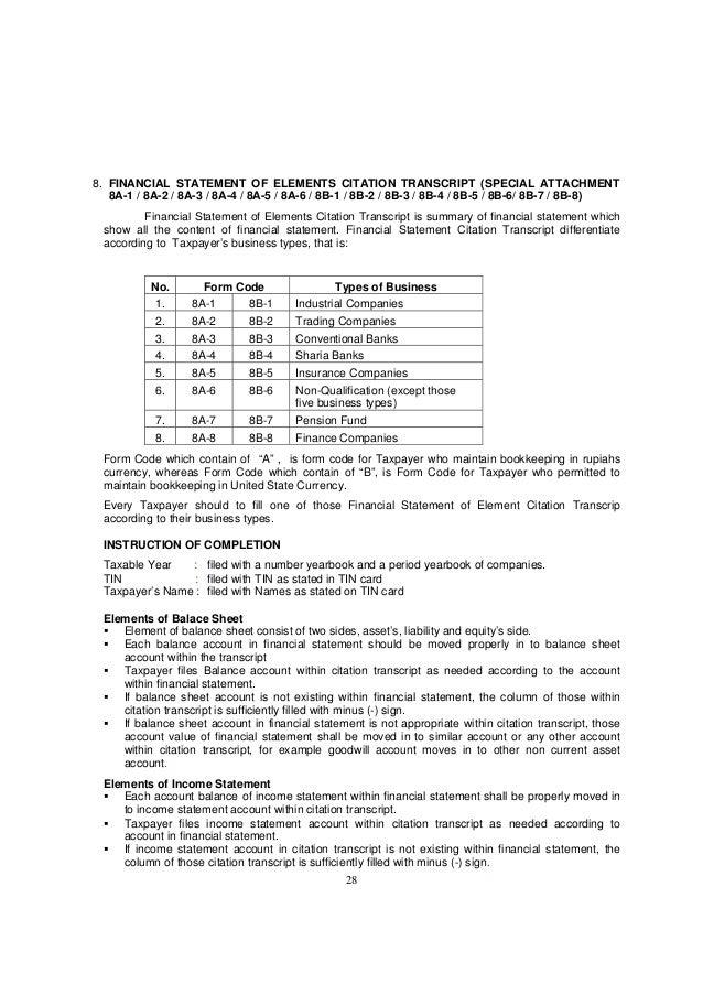 28 8. FINANCIAL STATEMENT OF ELEMENTS CITATION TRANSCRIPT (SPECIAL ATTACHMENT 8A-1 / 8A-2 / 8A-3 / 8A-4 / 8A-5 / 8A-6 / 8B...