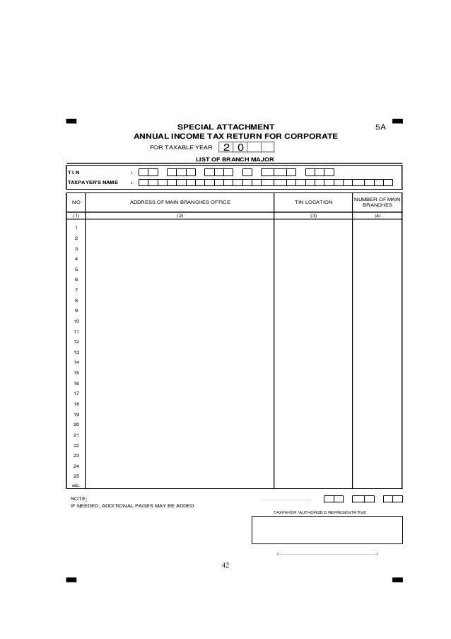 42 5A FOR TAXABLE YEAR T I N : TAXPAYER'S NAME : NOTE: ……………………………, IF NEEDED, ADDITIONAL PAGES MAY BE ADDED TAXPAYER /AUT...