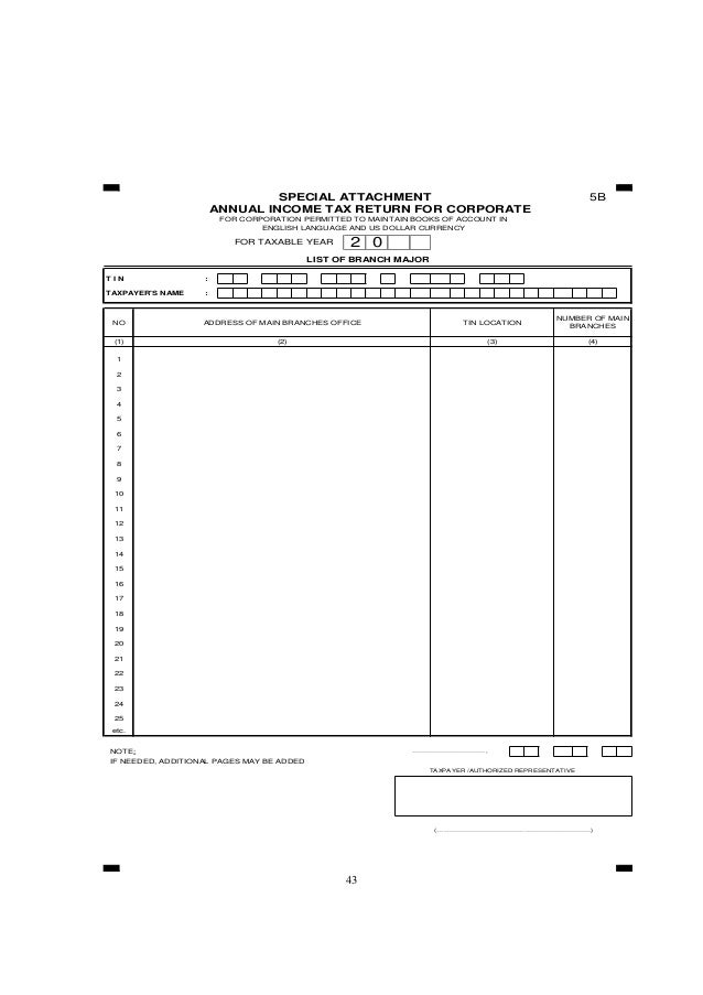 43 5B FOR TAXABLE YEAR T I N : TAXPAYER'S NAME : NOTE: ……………………………, IF NEEDED, ADDITIONAL PAGES MAY BE ADDED TAXPAYER /AUT...