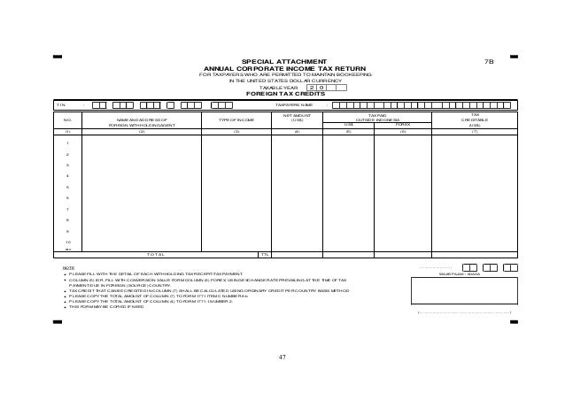 47 7B TAXABLE YEAR T I N : TAXPAYERS NAME : NOTE ……………………, • PLEASE FILL WITH THE DETAIL OF EACH WITHHOLDING TAX RECEPIT/T...