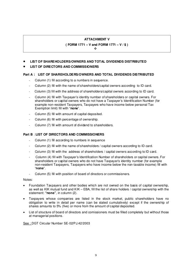 9 ATTACHMENT V ( FORM 1771 – V and FORM 1771 – V / $ )   LIST OF SHAREHOLDERS/OWNERS AND TOTAL DIVIDENDS DISTRIBUTED  L...