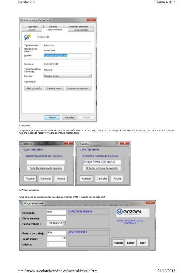 Instalacion  Página 4 de 5  7. Registro Al ejecutar por primera la solución le solicitará número de activación, contacte c...