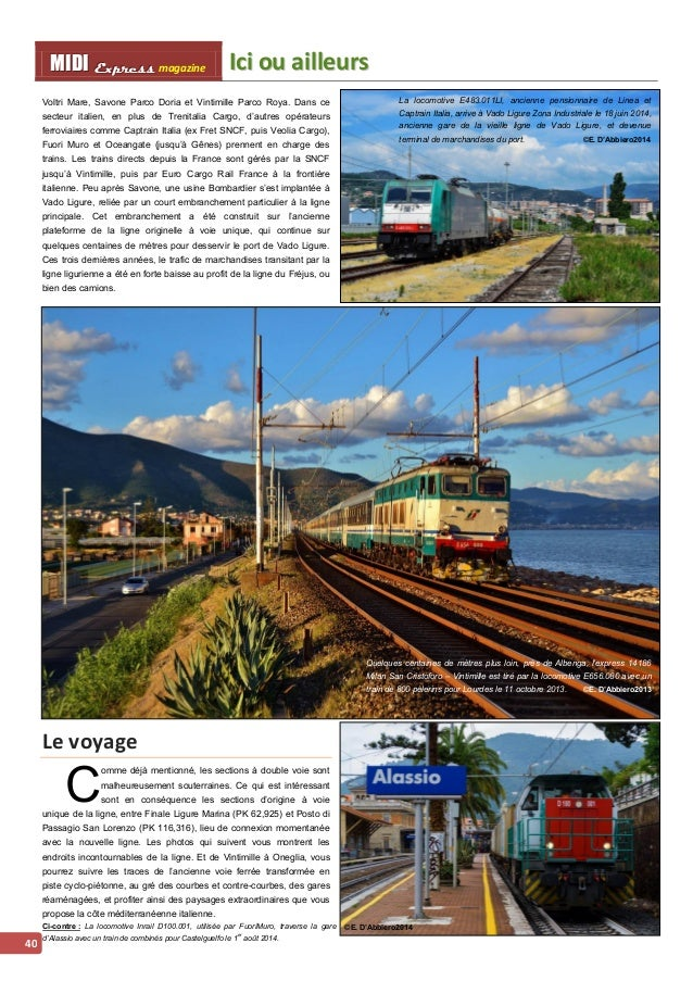 IIcii ou aiilllleurs MMI IIDDI II EEx xxpppr rre ees sss ss magazine  41  Entre Pietra Ligure et Loano, après les voies en...