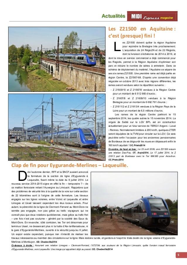 MMI IIDDI II EEx xxpppr rre ees sss ss magazine Acttualliittés  6  Premiers services commerciaux des Régiolis en région Mi...