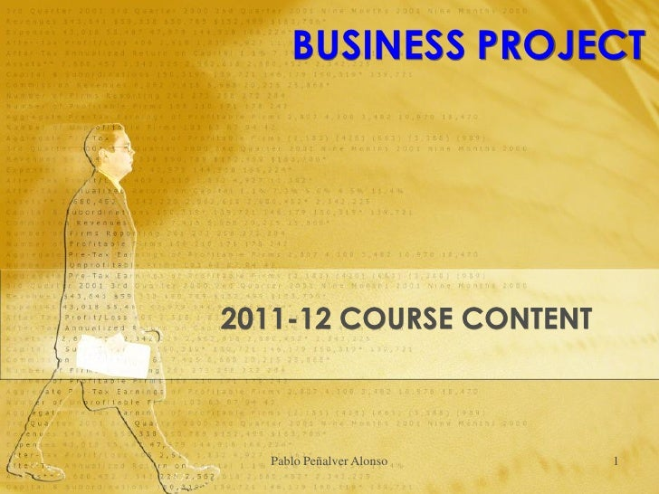 BUSINESS PROJECT2011-12 COURSE CONTENT  Pablo Peñalver Alonso   1