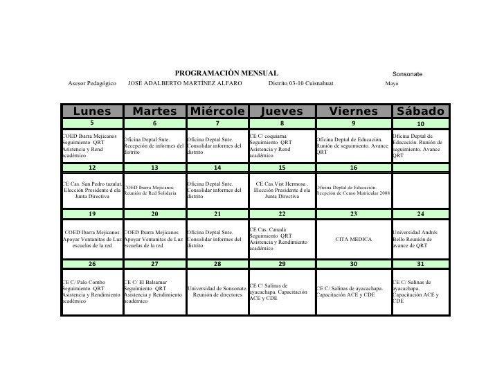 PROGRAMACIÓN MENSUAL                                                                           Sonsonate   Asesor Pedagógi...