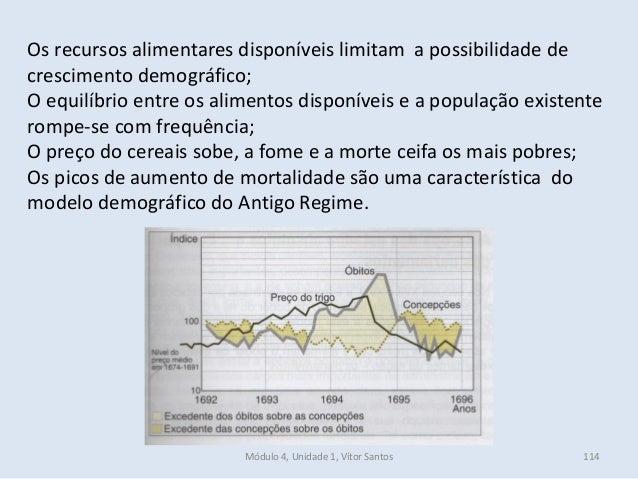 Módulo 4, Unidade 1, Vítor Santos 114 Os recursos alimentares disponíveis limitam a possibilidade de crescimento demográfi...