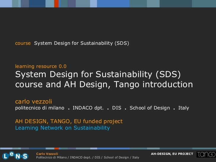course System Design for Sustainability (SDS)learning resource 0.0System Design for Sustainability (SDS)course and AH Desi...