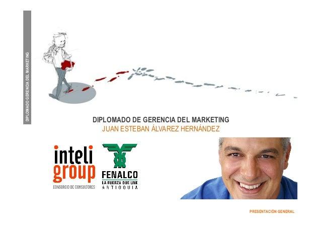 DIPLOMADO GERENCIA DEL MARKETING  PRESENTACIÓN GENERAL  DIPLOMADO DE GERENCIA DEL MARKETING  JUAN ESTEBAN ÁLVAREZ HERNÁNDE...