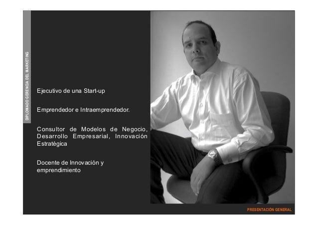 DIPLOMADO GERENCIA DEL MARKETING  PRESENTACIÓN GENERAL  Ejecutivo de una Start-up  Emprendedor e Intraemprendedor.  Consul...