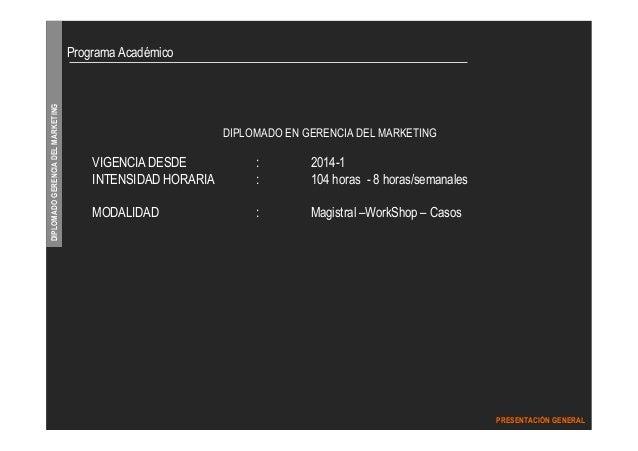 DIPLOMADO GERENCIA DEL MARKETING  PRESENTACIÓN GENERAL  DIPLOMADO EN GERENCIA DEL MARKETING  Programa Académico  VIGENCIA ...