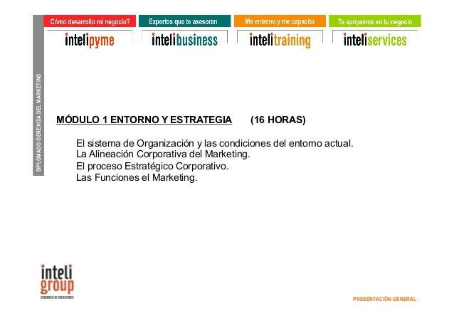 DIPLOMADO GERENCIA DEL MARKETING  PRESENTACIÓN GENERAL  MÓDULO 1 ENTORNO Y ESTRATEGIA (16 HORAS)  El sistema de Organizaci...