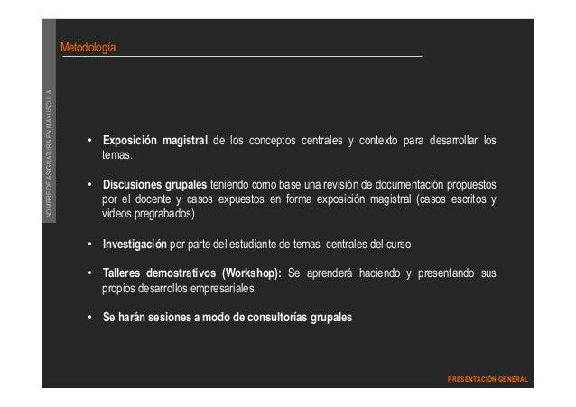 DIPLOMADO GERENCIA DEL MARKETING  PRESENTACIÓN GENERAL  NOMBRE DE ASIGNATURA EN MAYUSCULA  Metodología  • Exposición magis...
