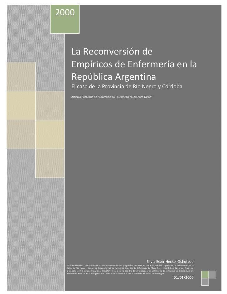 2000      La Reconversión de      Empíricos de Enfermería en la      República Argentina      El caso de la Provincia de R...