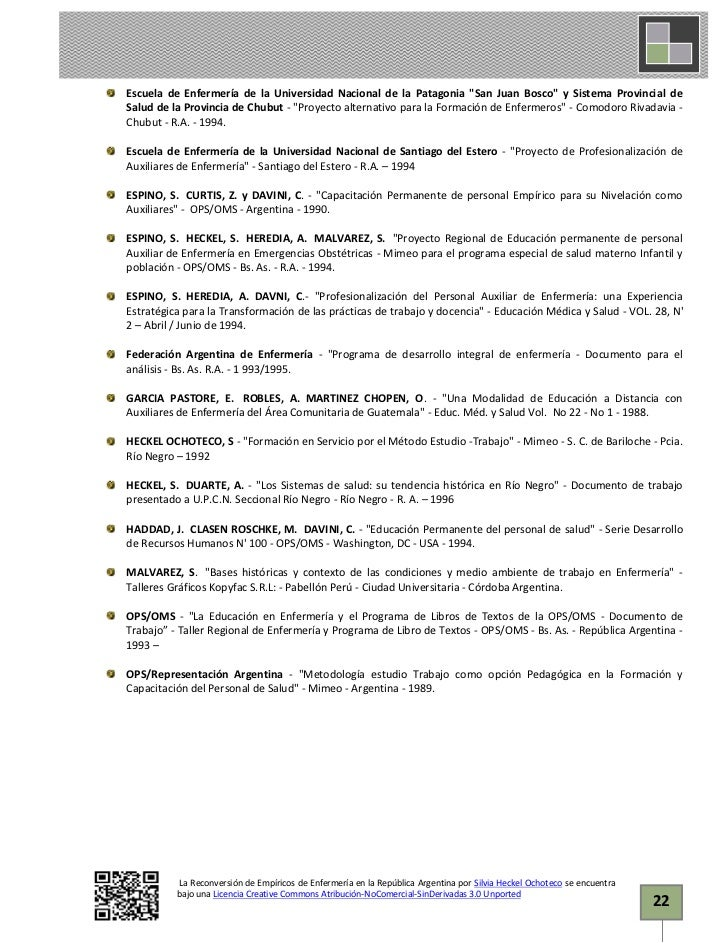 La reconversión de Empíricos de Enfermería en la Rep. Argentina