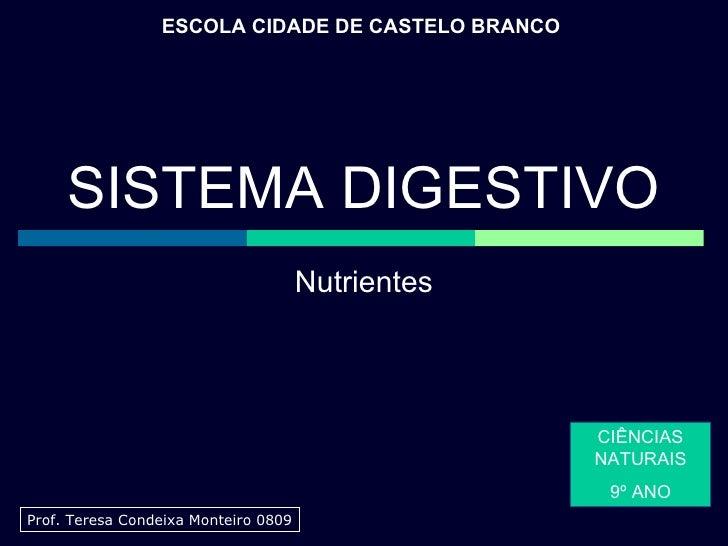 Nutrientes ESCOLA CIDADE DE CASTELO BRANCO CIÊNCIAS NATURAIS 9º ANO Prof. Teresa Condeixa Monteiro 0809 SISTEMA DIGESTIVO