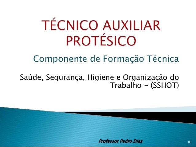 Componente de Formação Técnica Saúde, Segurança, Higiene e Organização do Trabalho - (SSHOT) Professor Pedro Dias 00