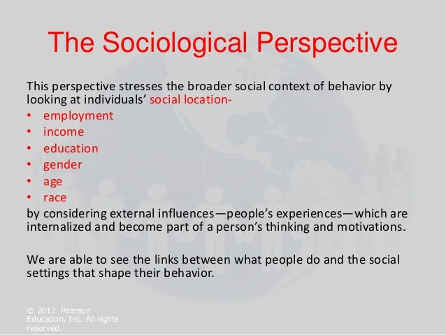 chapter 1 the sociological perspective 1 Chapter 1: the sociological perspective slideshare uses cookies to improve functionality and performance, and to provide you with relevant advertising if you continue browsing the site, you agree to the use of cookies on this website.