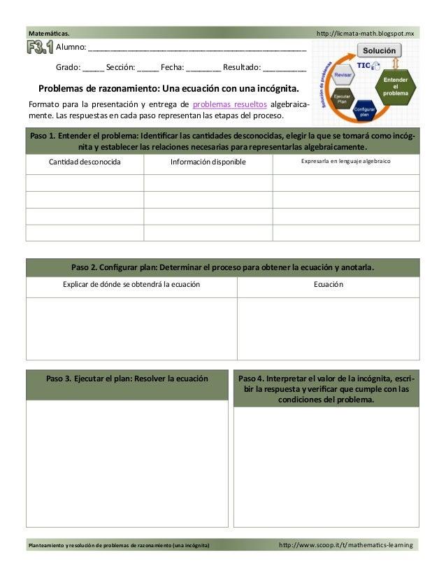 Planteamiento y resolución de problemas de razonamiento (una incógnita) http://www.scoop.it/t/mathematics-learning Matemát...