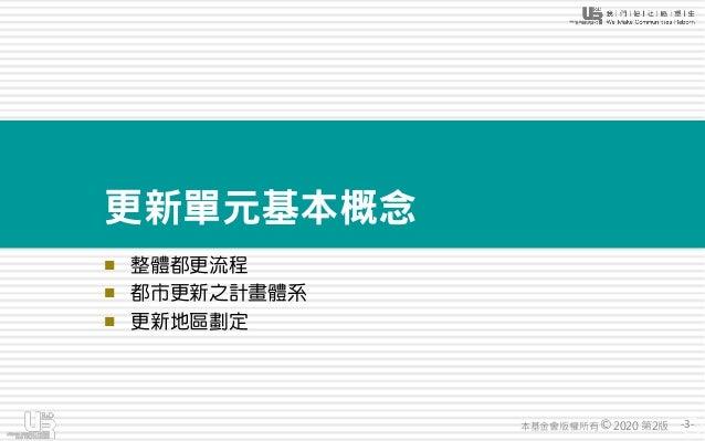 -3-本基金會版權所有 2020 第2版© 更新單元基本概念 ◼ 整體都更流程 ◼ 都市更新之計畫體系 ◼ 更新地區劃定